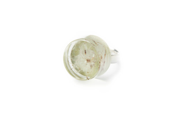 grassgrün Schmuck Gießharz Silber Serie geister Ring