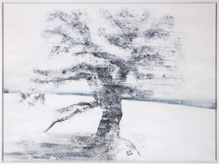Kunst Winterbaum Acryl, Samen, Rosshaar, Kaolin auf Leinwand