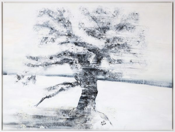 Kunst Winterbaum Acryl Samen Rosshaar Kaolin Leinwand